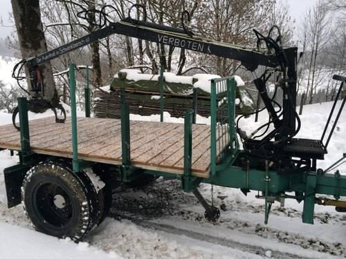 Holzanhänger/Rückewagen: Rückewagen mit Kran, Eigenbau