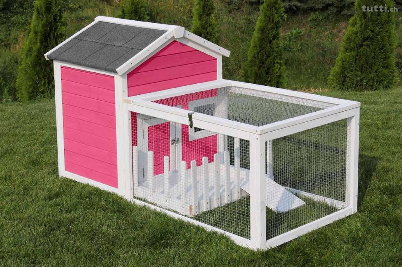 hasenstall haus mit garten rosa oder blau. Black Bedroom Furniture Sets. Home Design Ideas