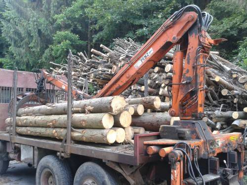 Holzkran Penz 8000hs Auf Magirus Deutz Allrad